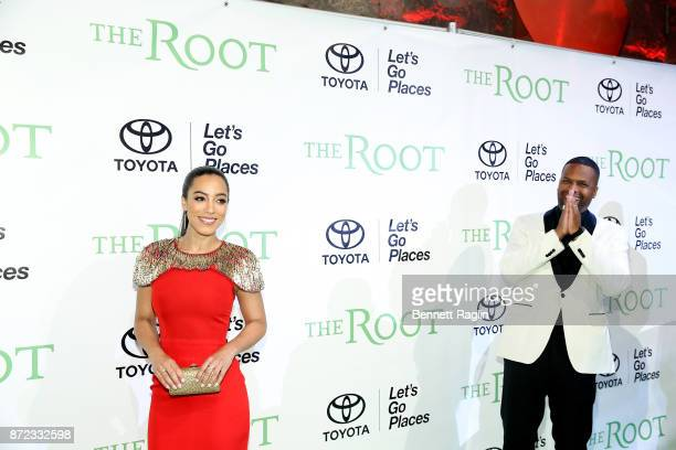 Media personality Angela Rye and TV personality AJ Calloway attend The Root 100 gala at Guastavino's on November 9 2017 in New York City