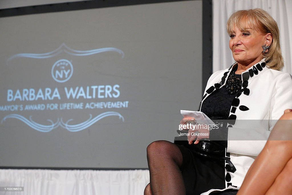 Media personality Barbara Walters onstage after receiving her 'Made In NY Award' at the 8th Annual 'Made In NY Awards' at Gracie Mansion on June 10, 2013 in New York City.