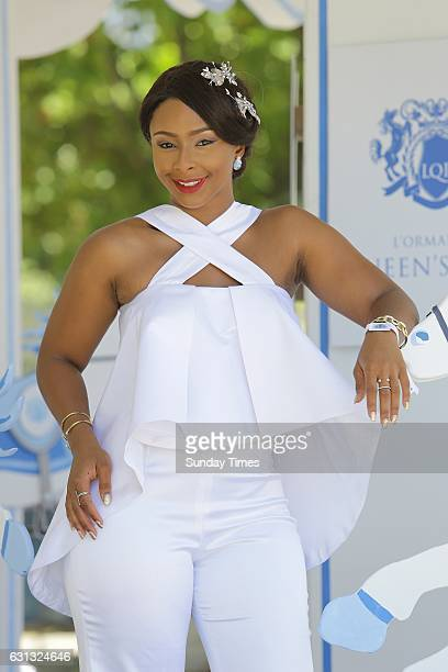 Media personality Boity Thulo poses during the 2017 annual L'Ormarins Queens Plate horseracing event at the Kenilworth racetrack on January 07 2016...