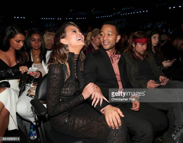 Media Personality Chrissy Teigen and musician John Legend during The 59th GRAMMY Awards at STAPLES Center on February 12 2017 in Los Angeles...