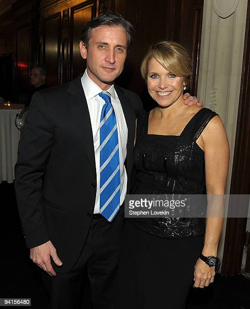 """Media personality Dan Abrams and CBS News anchor Katie Couric attend the launch of """"Mediaite"""" at The Edwardian Room at The Plaza on December 8, 2009..."""