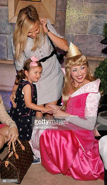 Media personality Elisabeth Hasselbeck and daughter Grace Hasselbeck greet Princess Aurora during the 50th Anniversary Release of the Walt Disney...