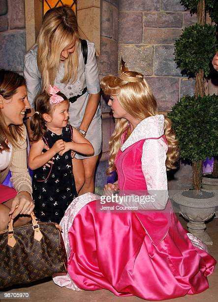 Media personality Elisabeth Hasselbeck and daughter Grace Hasselbeck meet Princess Aurora at the 50th Anniversary Release of the Walt Disney Classic...