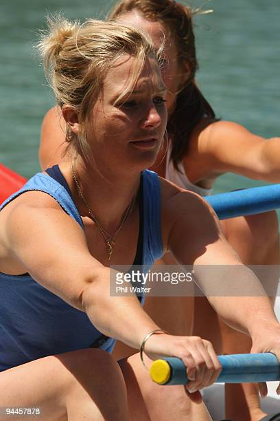 Media personality Hayley Holt competes in one of the races in between the Surf Boat Duel between the Blues and the Warriors at the Viaduct Harbour on...