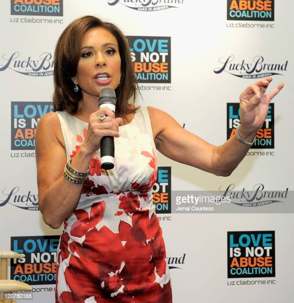 Media personality Judge Jeanine Pirro speaks during the Love is Not Abuse iPhone app launch at the Lucky Brand Store on August 10, 2011 in New York...