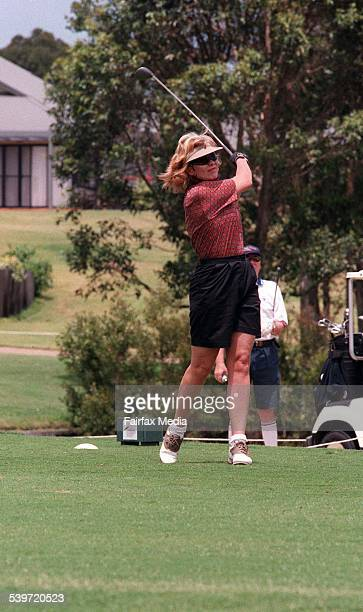 Media personality KerriAnne Kennerley plays golf at the Horizons Golf Course in Port Stephens 14 November 1998 NCH Picture by STEFAN MOORE