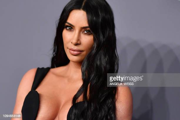 US media personality Kim Kardashian West arrives to attend the amfAR Gala New York at Cipriani Wall Street in New York City on February 6 2019