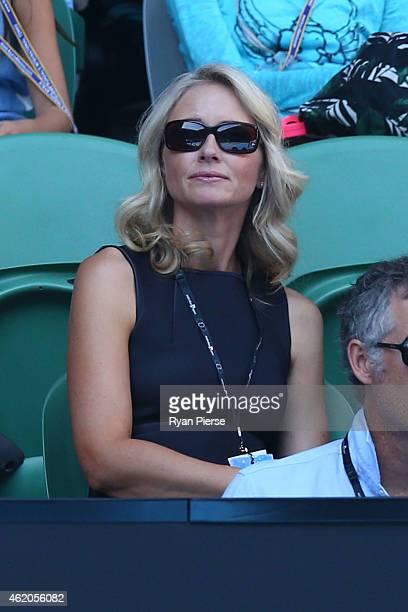Media personality Livinia Nixon watches the first round match between Stanislas Wawrinka of Switzerland and Jarkko Nieminen of Finland during day six...