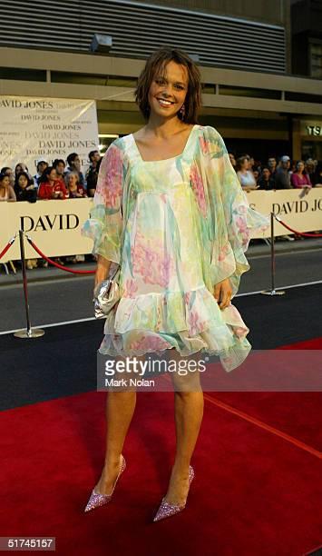 Media personality Mia Freedman arrives at the David Jones Launch Party at Elizabeth Street on November 13 2004 in Sydney Australia