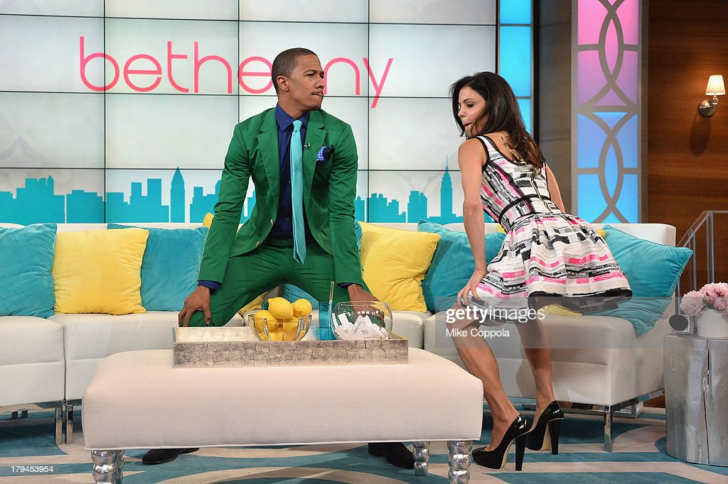 Media personality Nick Cannon (L) dances with talk show host/media personality Bethenny Frankel during her premiere show taping at 'bethenny' studios CBS Broadcast Center on September 3, 2013 in New York City. 'bethenny' premieres Monday, September 9th