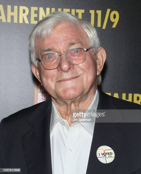 Media personality Phil Donahue attends the Fahrenheit 11/9 New York premiere at Alice Tully Hall Lincoln Center on September 13 2018 in New York City