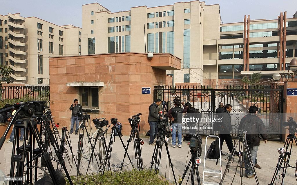 Media persons waiting outside newly inaugurated fast track court at Saket District court where police were preparing to file rape and murder charges against a group of men accused of sexually assaulting a 23-year-old university student for hours on a moving bus on January 3, 2013 in New Delhi, India.