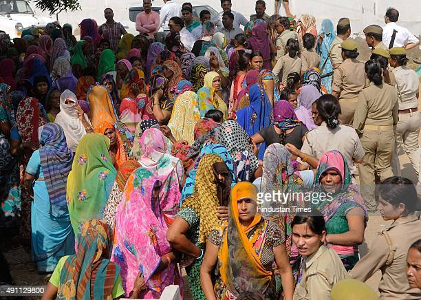 Media persons were attacked by angry mob of women twice in a day at Bisada village on October 3 2015 in Greater Noida India Delhi Chief Minister...