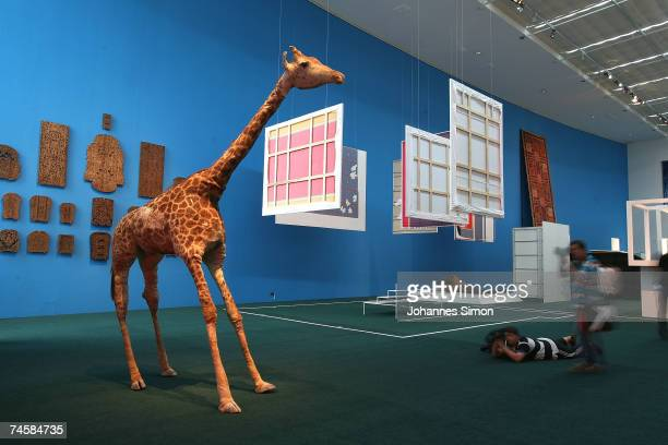 Media photographers take pictures of a displayed stuffed giraffe by the Austrian Artist Peter Friedl during a media preview of Documenta 12 on June...