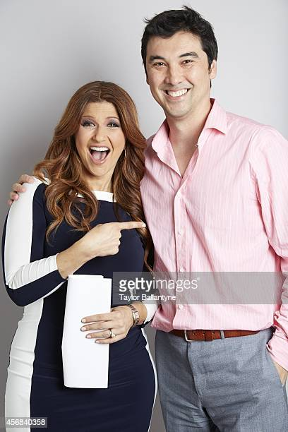 Portrait of CNN Sports reporter Rachel Nichols posing with Sports Illustrated via Getty Images managing editor Chris Stone during photo shoot at Time...