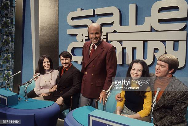 Portrait of television personality and host Joe Garagiola on set during fillming of Sale of the Century game show at NBC Studios New York NY CREDIT...