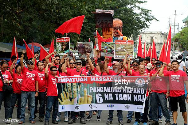 Media practitioners march from National Press Club to Dept of Justice to Mendiola Manila to commemorate the 6th Anniversary of Ampatuan Massacre Nov...