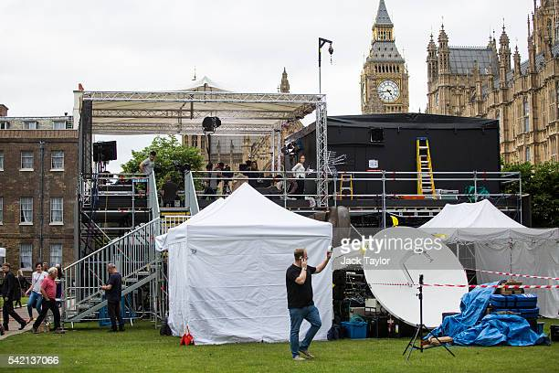 Media prepare around their tents on Abingdon Green outside the Houses of Parliament ahead of tomorrow's European Union referendum on June 22 2016 in...