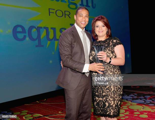 Media presenter Don Lemon and Media Honoree Ana Navarro pose with award during the ninth annual PFLAG National Straight for Equality Awards Gala on...