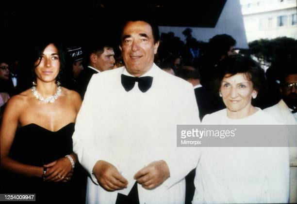 Media proprietor and fraudster Robert Maxwell at a party on his yacht with daughter Ghislaine and wife Elisabeth circa 1990