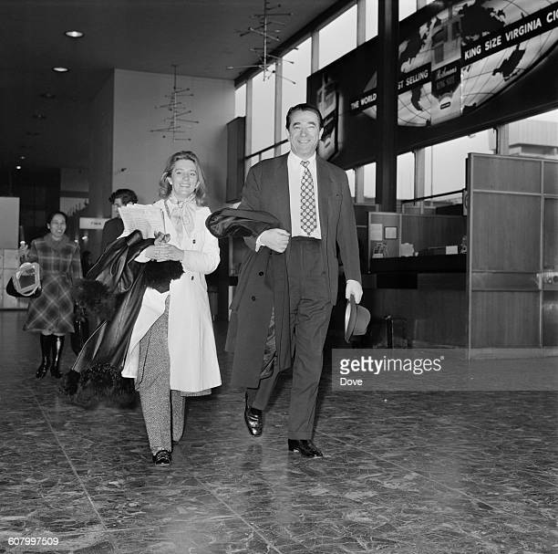 Media proprietor Robert Maxwell and his personal assistant Jean Baddeley at London Airport UK 27th February 1971