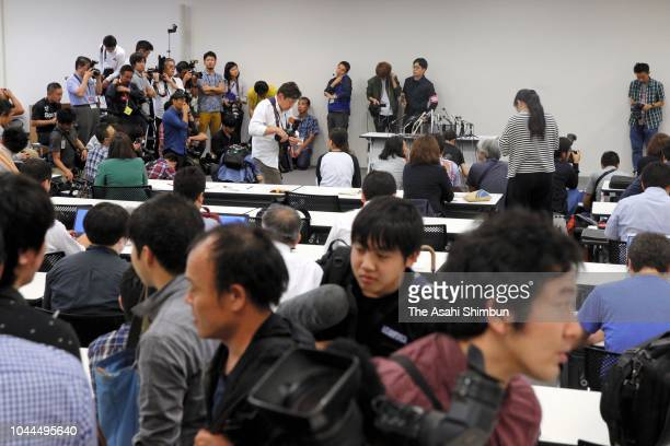 media reporters gather for a press conference by stablemaster and former yokozuna Takanohana on September 25 2018 in Tokyo Japan Takanohana said the...