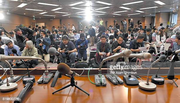 Media reporters wait for the press conference begins on April 8 2016 in Tokyo Japan Both players admitted to have gone to illegal casinos several...