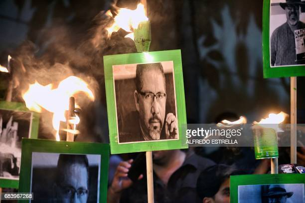 Media rights groups and citizens protest demanding the Mexican government catch the killers of Javier Valdez the fifth and most highprofile...