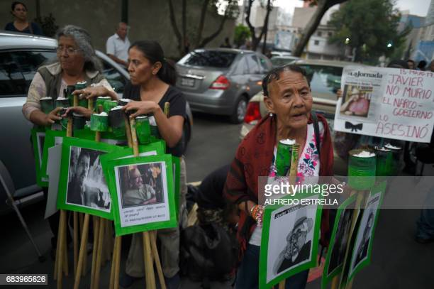 Media rights groups and citizens protest to demand the Mexican government catch the killers of Javier Valdez the fifth and most highprofile...
