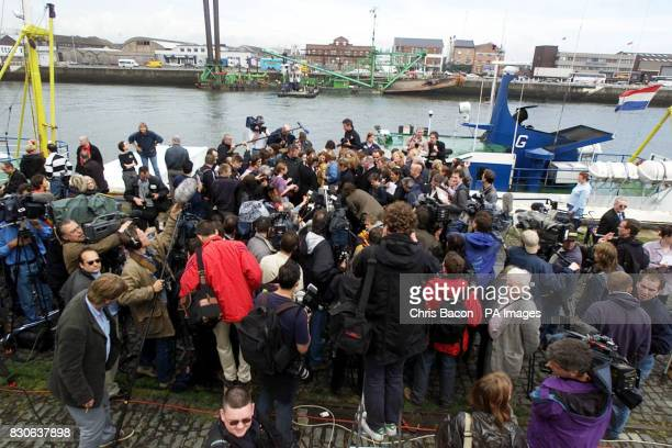 A media scrum in front of The Aurora the Dutch medical ship docked in Sir John Rogerson's Quay on Dublin's River Liffey Abortions will not be carried...