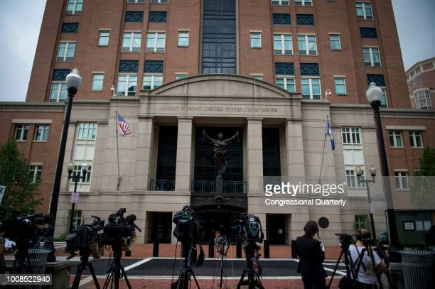 Media set up microphones in front of the United States District Court in Alexandria Virginia where President Donald Trump's former campaign manager...