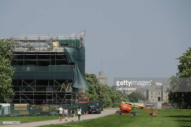 A media stand is erected half way along The Long Walk at Windsor Castle as it prepares for the wedding of Prince Harry and his fiance US actress...