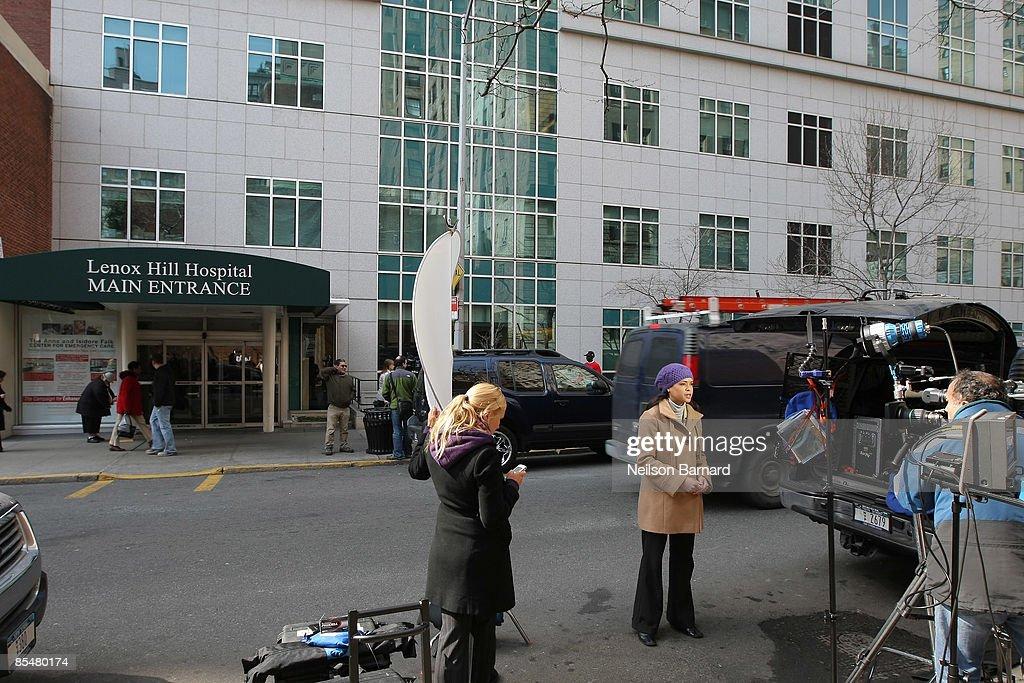 Media stands outside of Lenox Hill Hospital where Natasha