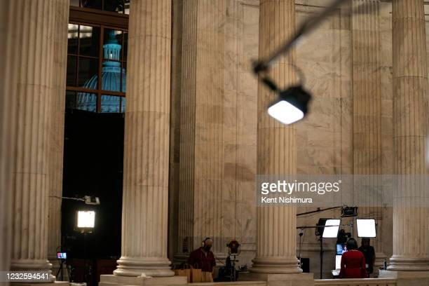 Media standup in the Russell Rotunda after the conclusion of President Joe Bidens address of the Joint Session of the 117th Congress on the eve of...