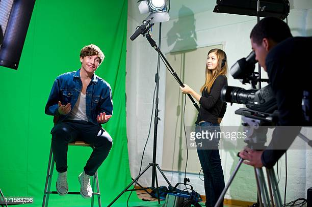 media student being interviewed - sound recording equipment stock pictures, royalty-free photos & images