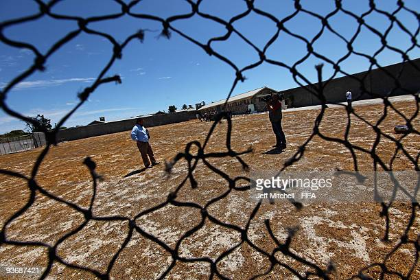 Media take a tour of Robben Island prison during a FIFA event ahead of the World Cup Final Draw on December 3, 2009 in Robben Island, South Africa.