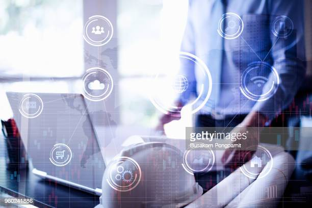 media technologies for business. global strategy virtual icon.innovation graphs interface concept design - bank icon stock photos and pictures