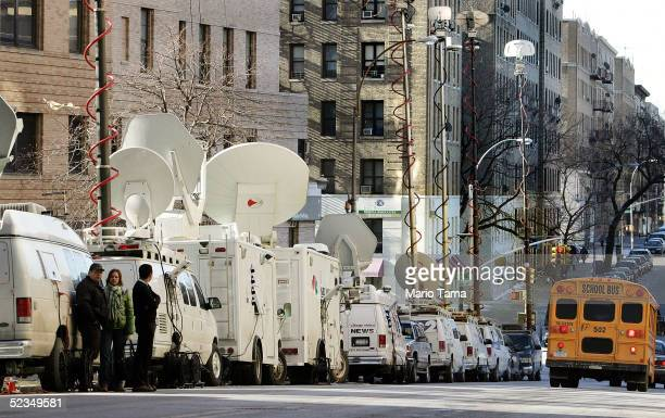 Media trucks are seen outside New YorkPresbyterian Hospital/Columbia University Medical Center where former President Bill Clinton is undergoing...