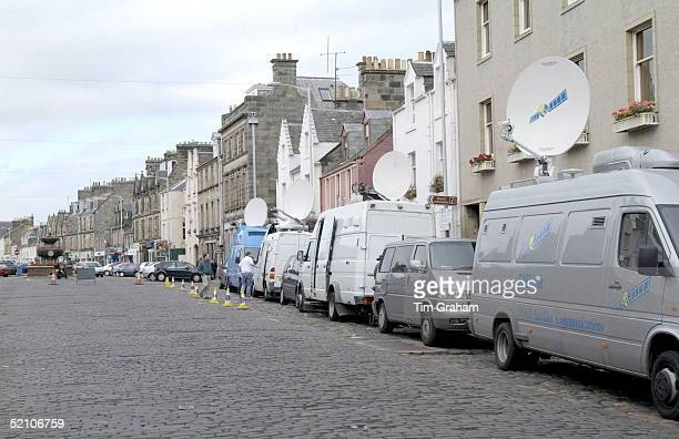 Media Vans With Satellite Dishes Lining The Streets Of St Andrews Scotland On The Day That Prince William Is Due To Arrive To Start His Studies At...