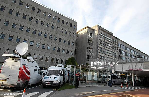 Media vehicles gather outside Royal Conrwall Hospital after Prime Minister David Cameron announced the birth of his 6lb 1oz baby girl there on August...
