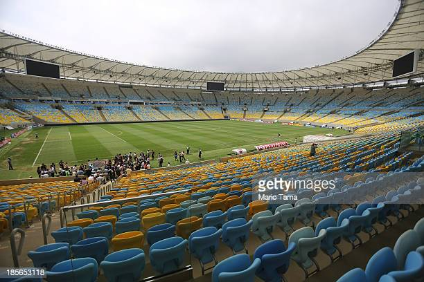 Media view Maracana Stadium during the 1st World Press Briefing for the Rio 2016 Olympic Games on October 23 2013 in Rio de Janeiro Brazil...
