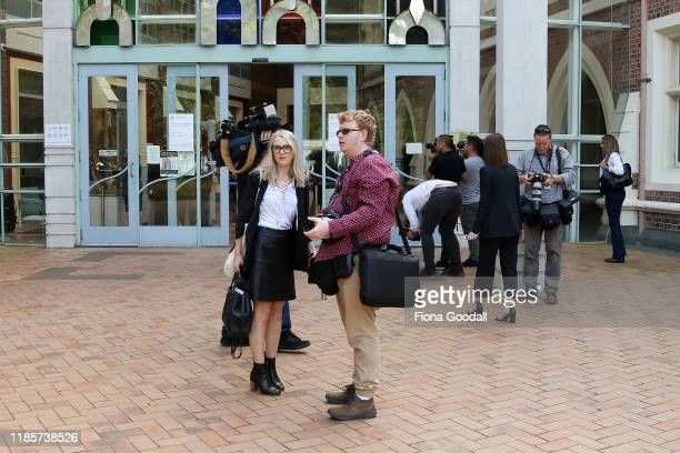 Media wait outside court after the arrival of Grace Millane's parents at Auckland High Court on November 06 2019 in Auckland New Zealand A 27 year...