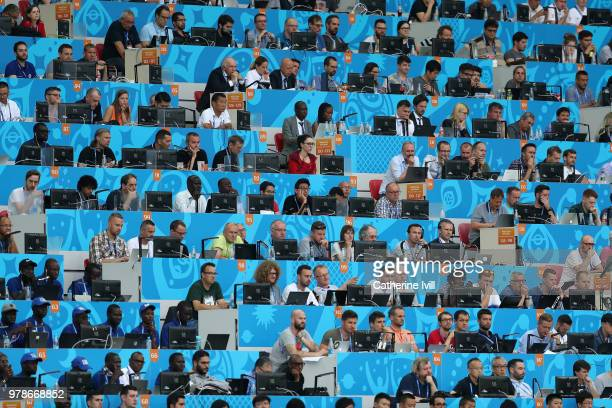 Media work from the tribune during the 2018 FIFA World Cup Russia group H match between Poland and Senegal at Spartak Stadium on June 19, 2018 in...