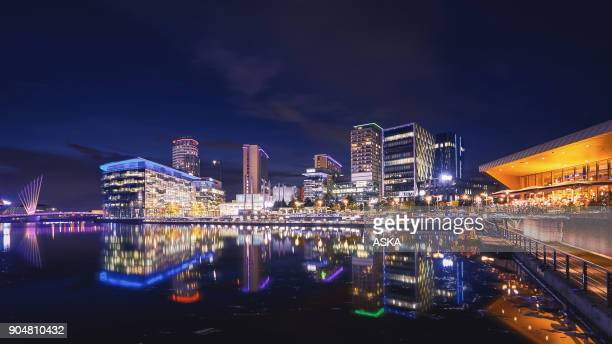 mediacity uk, salford quays, manchester - salford stock pictures, royalty-free photos & images