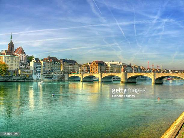 mediaeval bridge over rhine - basel switzerland stock pictures, royalty-free photos & images