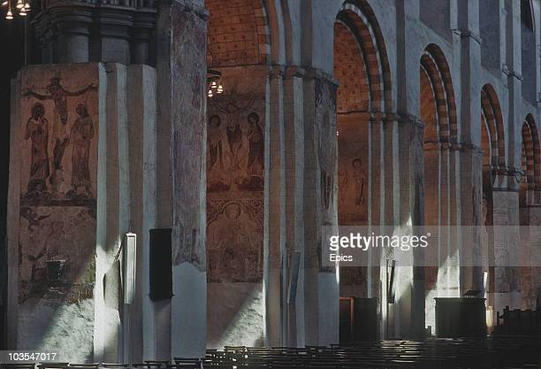 Mediaeval wall paintings in the Nave of St Albans Cathedral Hertfordshire May 1987