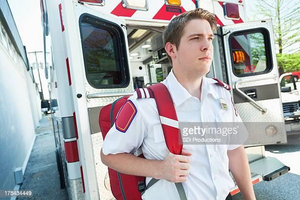Medic at his ambulance
