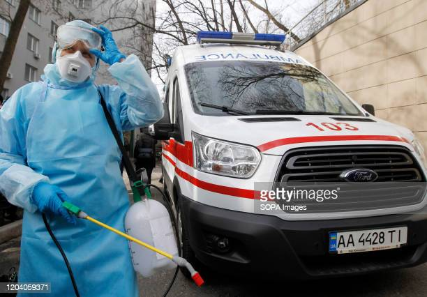 A medic worker in protective clothing attends the COVID19 coronavirus response training exercise at the Oleksandrivska Clinical Hospital No COVID19...