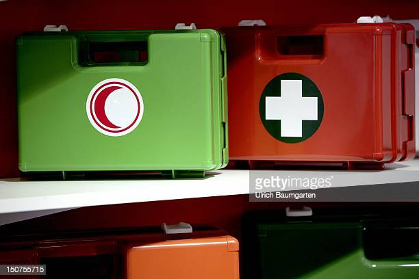 GERMANY DUESSELDORF Medica Our picture shows First aid boxes with emblems of Red Cross Red Crescent