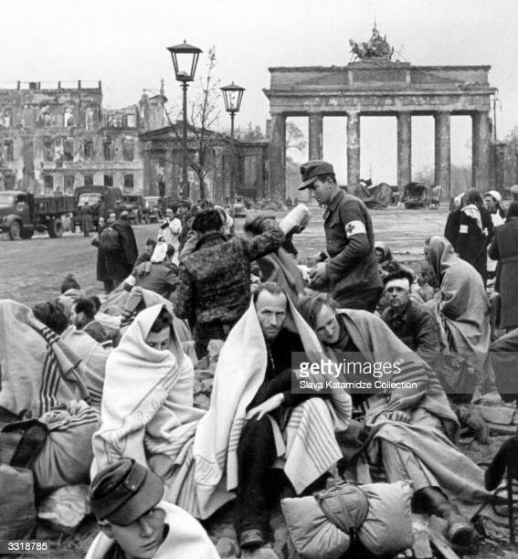 Medical aid is given to the wounded and sick while the Russian Army secures control of Berlin Germany